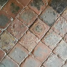 Encaustic tiled floor, St Michaels's Church, Croft Castle, Herefordshire