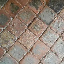 Encaustic tiled floor, St Michaels's Church, Croft Castle, Herefordshire