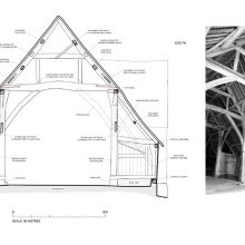Detailed survey of Grade I listed,15th-century barn at Old Burghclere, Hampshire; undertaken to inform programme of repair