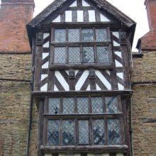 Timber-framed porch of 1616, Ludlow, Shropshire