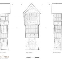 Detailed survey of early 17th-century, timber-framed porch, Ludlow, Shropshire