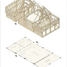Isometric projection (reconstruction) of 15th-century Wealden house, Sellindge, Kent