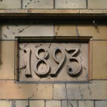Date marker on late-C19th gate lodge, Worcester